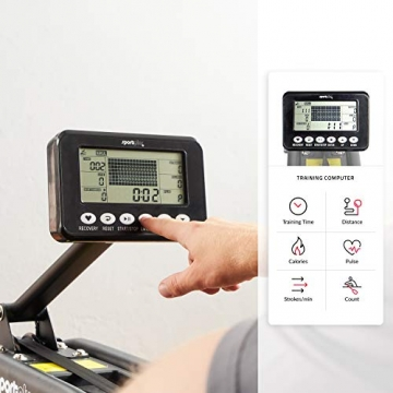 SportPlus Wasserrudergerät für zuhause - Rudergerät mit 6-fach regulierbarem & realistischem Wasserwiderstand, hochwertiger Trainingscomputer mit Rennsimulator, bis 130kg, TÜV geprüfte Sicherheit - 4