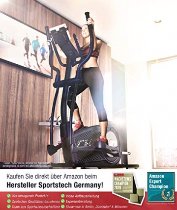 Sportstech CX2 Crosstrainer für Zuhause | mit Stromgenerator | Deutsches Qualitätsunternehmen | Interaktive Video-Events & Multiplayer-App | Ellipsentrainer, Ergometer + Konsole & 27 kg Schwungmasse - 4