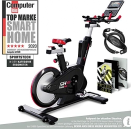 Sportstech Elite Indoor Cycle Bike | Deutsches Qualitätsunternehmen | Video Events & Multiplayer App | computergesteuertes Magnetbremssystem + 26kg Masse | Speedbike Ergometer + Sportlenker | SX600 - 1