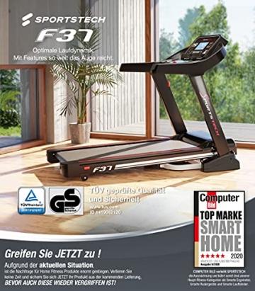 Sportstech F37 Profi Laufband-Deutsche Qualitätsmarke- Selbstschmiersystem,APP Kinomap, 7PS bis 20 km/h. Bluetooth MP3, HRC- Klappbar, große Lauffläche, TÜV/GS, Pulsgurt im Wert von 49,9EUR, bis 150kg - 2
