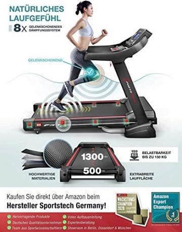 Sportstech F37 Profi Laufband-Deutsche Qualitätsmarke- Selbstschmiersystem,APP Kinomap, 7PS bis 20 km/h. Bluetooth MP3, HRC- Klappbar, große Lauffläche, TÜV/GS, Pulsgurt im Wert von 49,9EUR, bis 150kg - 3