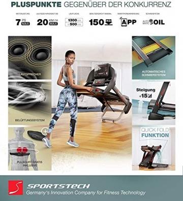 Sportstech F37 Profi Laufband-Deutsche Qualitätsmarke- Selbstschmiersystem,APP Kinomap, 7PS bis 20 km/h. Bluetooth MP3, HRC- Klappbar, große Lauffläche, TÜV/GS, Pulsgurt im Wert von 49,9EUR, bis 150kg - 5