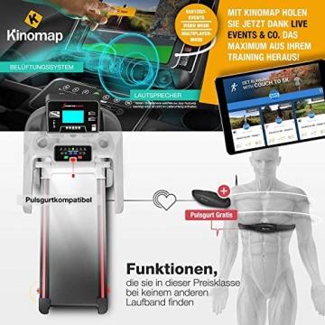 Sportstech F37 Profi Laufband-Deutsche Qualitätsmarke- Selbstschmiersystem,APP Kinomap, 7PS bis 20 km/h. Bluetooth MP3, HRC- Klappbar, große Lauffläche, TÜV/GS, Pulsgurt im Wert von 49,9EUR, bis 150kg - 8