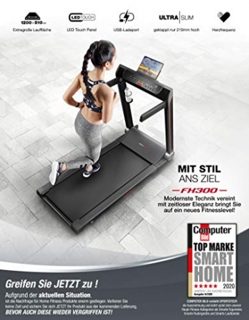 Sportstech FX300 Ultra Slim Laufband   Deutsches Qualitätsunternehmen   Video Events, Multiplayer App & USB Ladeport   Riesen Lauffläche 51x122cm & kein Aufbau   16 km/h Spitze   Pulsgurt kompatibel - 2