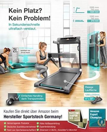 Sportstech FX300 Ultra Slim Laufband   Deutsches Qualitätsunternehmen   Video Events, Multiplayer App & USB Ladeport   Riesen Lauffläche 51x122cm & kein Aufbau   16 km/h Spitze   Pulsgurt kompatibel - 4