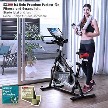 Sportstech Indoor Speedbike SX200 Sportgerät für Zuhause | Deutsches Qualitätsunternehmen + Video Events & Multiplayer APP | Hometrainer für Fitness | Heimtrainer-Fahrrad mit 22KG Schwungrad - 2