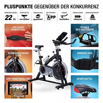 Sportstech Indoor Speedbike SX200 Sportgerät für Zuhause | Deutsches Qualitätsunternehmen + Video Events & Multiplayer APP | Hometrainer für Fitness | Heimtrainer-Fahrrad mit 22KG Schwungrad - 4