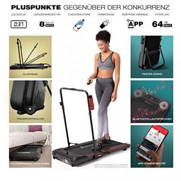 Sportstech Laufband für Zuhause & Büro Easy verstaubar |eingebauter Bluetooth-Lautsprecher & APP | Klappbare Haltestange & extra leise für Fitness bis 8 km/h | Remote- und Flaschenhalterung | DFT100 - 7