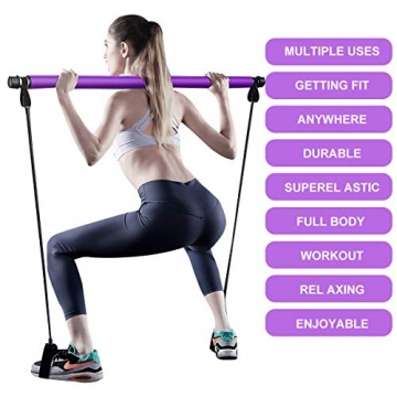 Surplex Pilates Bar Kit mit Widerstandsband, Bodybuilding Yoga Pilates Stick mit Fußschlaufe, Ideal für zu Hause Ganzkörpertraining, Fitnessstudio, Gewichtheben, Sit-Up, Stretch, Sculpt, Twisting - 2