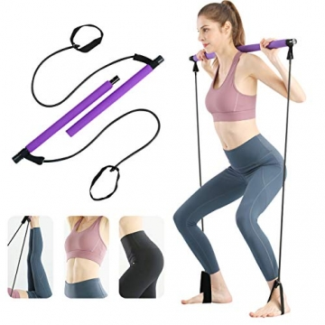 Surplex Pilates Bar Kit mit Widerstandsband, Bodybuilding Yoga Pilates Stick mit Fußschlaufe, Ideal für zu Hause Ganzkörpertraining, Fitnessstudio, Gewichtheben, Sit-Up, Stretch, Sculpt, Twisting - 1