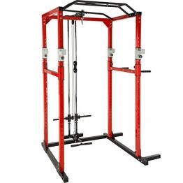 TecTake Kraftstation Fitnessstation Power Rack Power Cage | Klimmzug-Doppelstange | Robuster Rahmen aus Stahlrohr Modelle (Rot Schwarz mit Latzug | Nr. 402738) - 1