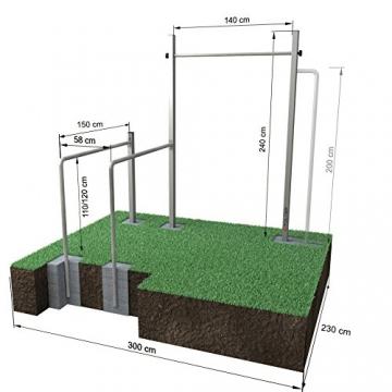 TOLYMP Outdoor-Turngerät Fitness-Station Dip Buin hochwertig und stabil aus V2A-Edelstahl mit Dip-Barren, Einer vielfach verstellbaren Turnstange - 3