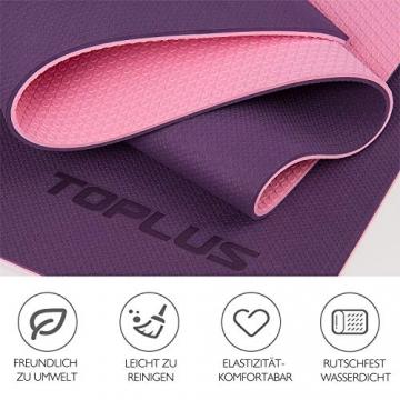 TOPLUS Gymnastikmatte, Yogamatte Yogamatte Gepolstert & rutschfest für Fitness Pilates & Gymnastik mit Tragegurt (Lila-Pink) - 2