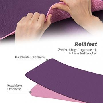 TOPLUS Gymnastikmatte, Yogamatte Yogamatte Gepolstert & rutschfest für Fitness Pilates & Gymnastik mit Tragegurt (Lila-Pink) - 3