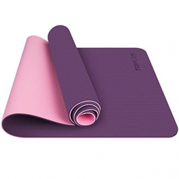 TOPLUS Gymnastikmatte, Yogamatte Yogamatte Gepolstert & rutschfest für Fitness Pilates & Gymnastik mit Tragegurt (Lila-Pink) - 1