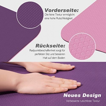 TOPLUS Gymnastikmatte, Yogamatte Yogamatte Gepolstert & rutschfest für Fitness Pilates & Gymnastik mit Tragegurt (Lila-Pink) - 5