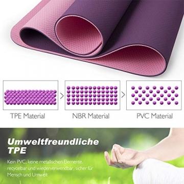 TOPLUS Gymnastikmatte, Yogamatte Yogamatte Gepolstert & rutschfest für Fitness Pilates & Gymnastik mit Tragegurt (Lila-Pink) - 6