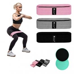 Xnuoyo Widerstandsbänder Set und doppelseitige Gleitscheiben, Resistance Bands für Muskelaufbau Pilates Yoga, 3 Trainingsbänder & 2 Festigkeitsscheiben - 1
