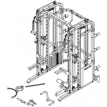 XPLON Kraftstation inkl. 216kg Steckgewichte und Hantelbank Multipresse Klimmzug Smith Maschine Power Rack Dipbarren Klimmzugstange Multi Chin T-Bar Latzug Beinpresse - 7