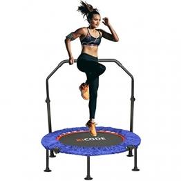 Fitness Trampolin Indoor Erwachsene Ø101cm, Mini Faltbares Trampolin mit höhenverstellbarer Haltegriff, Rebounder für Körpertraining und Aerobic zu Hause oder im Fitnessstudio, bis max. 150 kg - 1