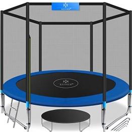 KESSER® - Trampolin Ø 305 cm | TÜV SÜD GS Zertifiziert | Komplettset mit Sicherheitsnetz, Leiter, Randabdeckung & Zubehör | Kindertrampolin Gartentrampolin Belastbarkeit 150 kg - 1