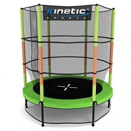 Kinetic Sports Trampolin Kinder Indoortrampolin Jumper 140 cm Randabdeckung Stangen gepolstert, Gummiseil-Federung Sicherheitsnetz Grün - 1