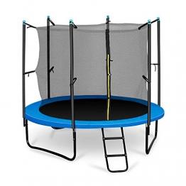 Klarfit Rocketboy 250 Kinder-Trampolin Gartentrampolin, 250 cm Durchmesser, Sicherheitsnetz, Abdeckbaube, bis max. 150 kg belastbar, Stangen gepolstert, Schaumstoff Abdeckung, blau - 1