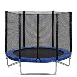 Outdoor Trampoline with Safety Enclosure Net and Padded Poles, 8FT Garden Trampoline 150KG Weight Capacity, GS and TUV Tested - 1