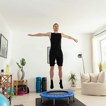 Relaxdays Trampolin faltbar, Indoor, Fitness H x B x T: 22 x 95 x 95 cm, Maximalbelastung 100 kg, blau-schwarz - 2