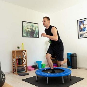 Relaxdays Trampolin faltbar, Indoor, Fitness H x B x T: 22 x 95 x 95 cm, Maximalbelastung 100 kg, blau-schwarz - 3