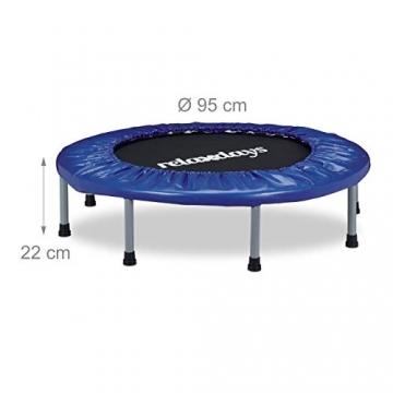 Relaxdays Trampolin faltbar, Indoor, Fitness H x B x T: 22 x 95 x 95 cm, Maximalbelastung 100 kg, blau-schwarz - 4