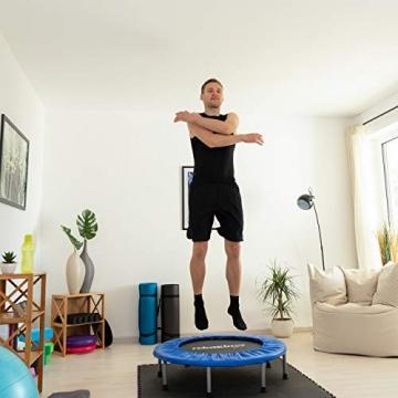 Relaxdays Trampolin faltbar, Indoor, Fitness H x B x T: 22 x 95 x 95 cm, Maximalbelastung 100 kg, blau-schwarz - 5