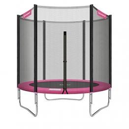 SONGMICS Trampolin Ø 183 cm, rundes Gartentrampolin mit Sicherheitsnetz, mit gepolsterten Stangen, Sicherheitsabdeckung, TÜV Rheinland getestet, sicher, outdoor, schwarz-pink STR061P01 - 1