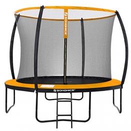 SONGMICS Trampolin Ø 305 cm, rundes Gartentrampolin mit Sicherheitsnetz, mit Leiter und gepolsterten Stangen, Sicherheitsabdeckung, TÜV Rheinland getestet, sicher, schwarz-orange STR102O01 - 1