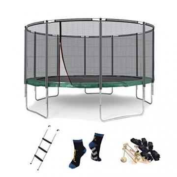 Ampel 24 Outdoor Trampolin 430 cm grün mit außenliegendem Netz, gepolsterten Stangen, Stabilitätsring, Leiter & Windsicherung, Belastbarkeit 160 kg, 1 Paar Antirutsch-Socken extra - 1