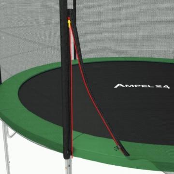 Ampel 24 Outdoor Trampolin 430 cm grün mit außenliegendem Netz, gepolsterten Stangen, Stabilitätsring, Leiter & Windsicherung, Belastbarkeit 160 kg, 1 Paar Antirutsch-Socken extra - 6