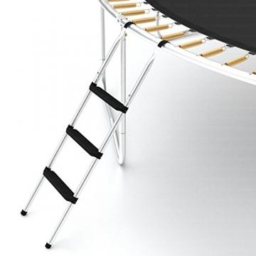 Ampel 24 Outdoor Trampolin 430 cm grün mit außenliegendem Netz, gepolsterten Stangen, Stabilitätsring, Leiter & Windsicherung, Belastbarkeit 160 kg, 1 Paar Antirutsch-Socken extra - 7