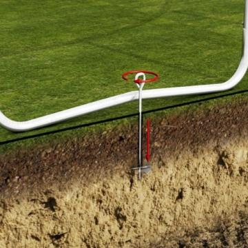 Ampel 24 Outdoor Trampolin 430 cm grün mit außenliegendem Netz, gepolsterten Stangen, Stabilitätsring, Leiter & Windsicherung, Belastbarkeit 160 kg, 1 Paar Antirutsch-Socken extra - 8