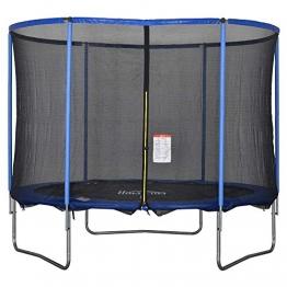 HOMCOM Trampolin mit Sicherheitsnetz Gartentrampolin für Innen- und Außenbereich Fitnesstrampolin für Kinder und Erwachsene Stahl Blau+Schwarz bis 113,6 kg Ø244 x 240H cm - 1