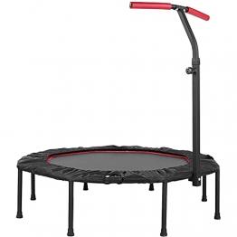 Trampolin Indoor Ø127cm, Fitness Trampolin Faltbar mit 5-Fach Höhenverstellbarer Haltegriff, Jumping Fitness Trampolin für Erwachsene und Kinder, Trampolin bis 150kg - 1