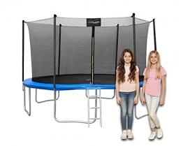 Trampolin Outdoor, Trampolin mit Sicherheitszaun und Gepolsterte Stangen für Kinder Indoor Outdoor Fitness,12FT Belastbar bis 150 kg Modell 2021 - 1