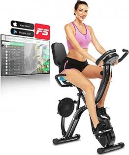 ANCHEER Heimtrainer Fahrrad mit APP-Anschluss F-Bike, Stützgewicht 125kg Klappbar Heimtrainer X-Bike, 10-stufig einstellbarem Magnetwiderstand Fahrradtrainer, Handpulssensoren, Platz sparen - 1