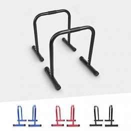 GORILLA SPORTS® Dip Barren 2er Set 30 cm/73 cm/94 cm – Push Up Stand Bar in 3 verschiedenen Größen und Farben bis 200 kg belastbar (61 x 38 x 73 cm, Schwarz) - 1