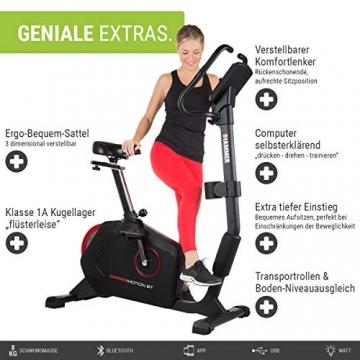 HAMMER Ergometer Cardio Motion BT, leises Fitnessfahrrad mit tiefem Einstieg und Comfort-Sattel, geeignet als Heimtrainer für Senioren, Bluetooth und App-Steuerung, Tablethalterung, 110 x 52 x 140 cm - 2