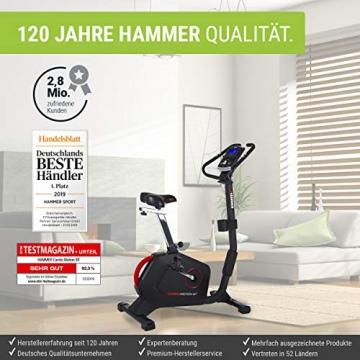 HAMMER Ergometer Cardio Motion BT, leises Fitnessfahrrad mit tiefem Einstieg und Comfort-Sattel, geeignet als Heimtrainer für Senioren, Bluetooth und App-Steuerung, Tablethalterung, 110 x 52 x 140 cm - 4