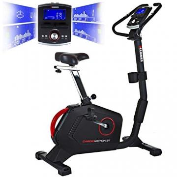 HAMMER Ergometer Cardio Motion BT, leises Fitnessfahrrad mit tiefem Einstieg und Comfort-Sattel, geeignet als Heimtrainer für Senioren, Bluetooth und App-Steuerung, Tablethalterung, 110 x 52 x 140 cm - 1
