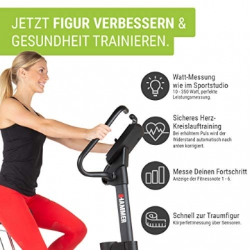 HAMMER Ergometer Cardio Motion BT, leises Fitnessfahrrad mit tiefem Einstieg und Comfort-Sattel, geeignet als Heimtrainer für Senioren, Bluetooth und App-Steuerung, Tablethalterung, 110 x 52 x 140 cm - 5