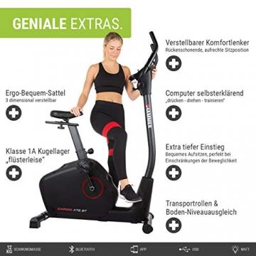 HAMMER Ergometer Cardio XT6 BT, leises Fitnessfahrrad mit tiefem Einstieg und Comfort-Sattel, 13 kg Schwungmassensystem, Bluetooth & App-Steuerung, 130 kg Benutzergewicht, 93 x 51 x 150 cm - 2