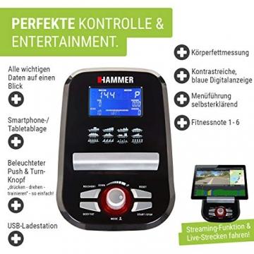 HAMMER Ergometer Cardio XT6 BT, leises Fitnessfahrrad mit tiefem Einstieg und Comfort-Sattel, 13 kg Schwungmassensystem, Bluetooth & App-Steuerung, 130 kg Benutzergewicht, 93 x 51 x 150 cm - 3