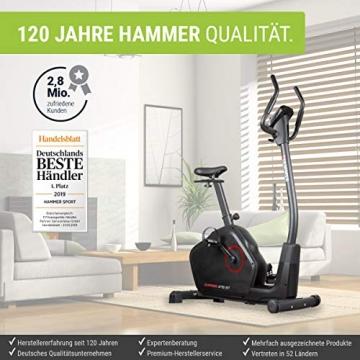 HAMMER Ergometer Cardio XT6 BT, leises Fitnessfahrrad mit tiefem Einstieg und Comfort-Sattel, 13 kg Schwungmassensystem, Bluetooth & App-Steuerung, 130 kg Benutzergewicht, 93 x 51 x 150 cm - 4